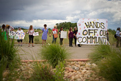 Colorado residents protest hydraulic fracturing.